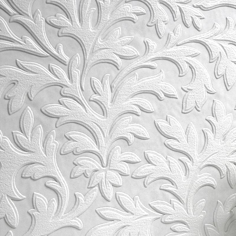 Anaglypta Luxury Textured Vinyl Wallpaper High Leaf - RD80026