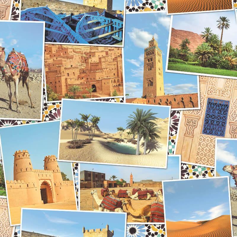 SK Filson Arabian Postcards Multi Wallpaper - SK10001