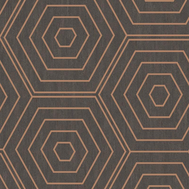 SK Filson Aztec Hexagons Copper Metallic Wallpaper - SK20021