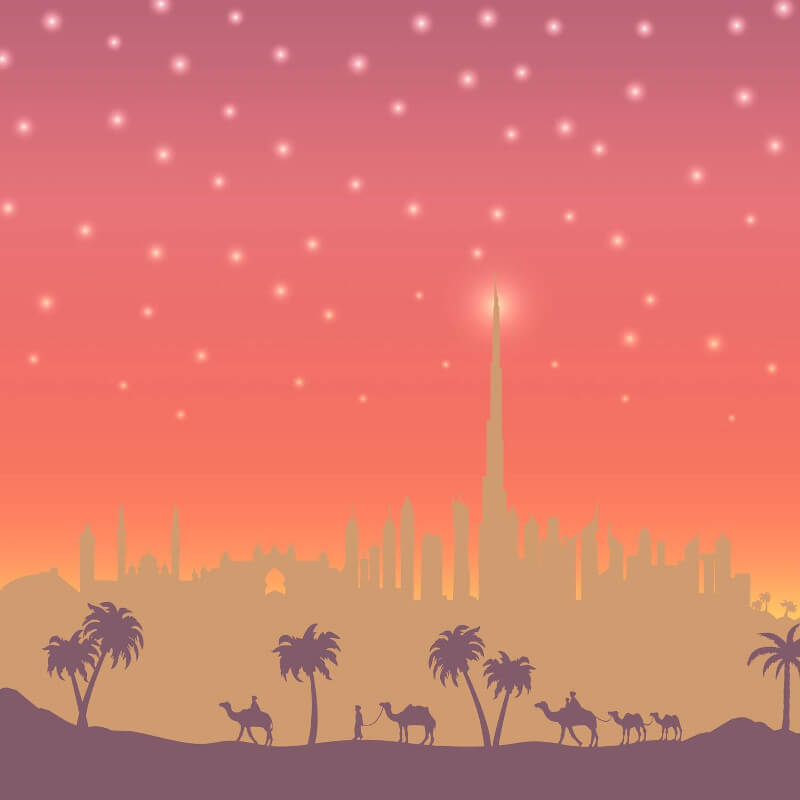 SK Filson Dubai Landscape Red Wallpaper Border - SK10022