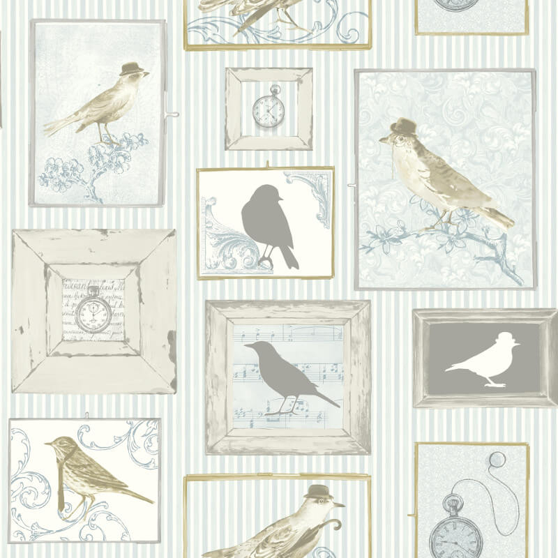 SK Filson Framed Birds Aqua/Multi Wallpaper - FI2502