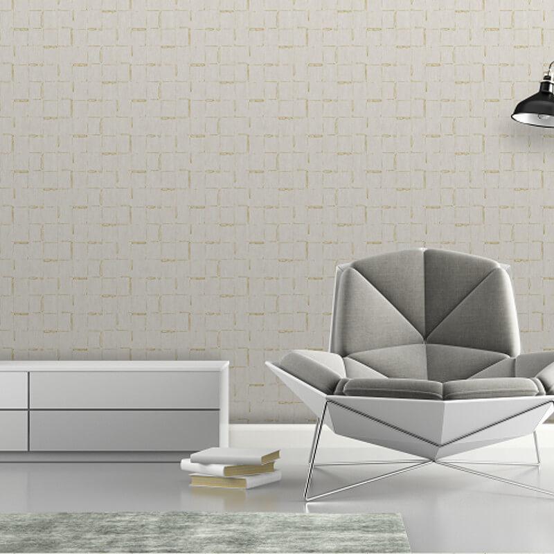 SK Filson Geometric Lines Beige Metallic Wallpaper - SK20029