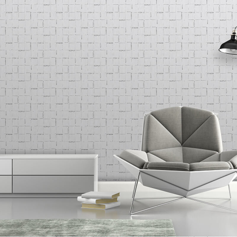 SK Filson Geometric Lines Silver Metallic Wallpaper - SK20026