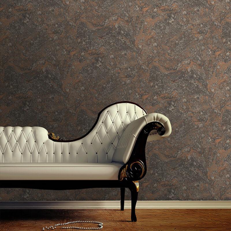 SK Filson Infused Marble Black/Copper Metallic Wallpaper - SK20031