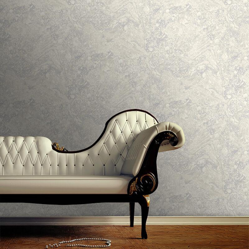 SK Filson Infused Marble Grey/Silver Metallic Wallpaper - SK20032