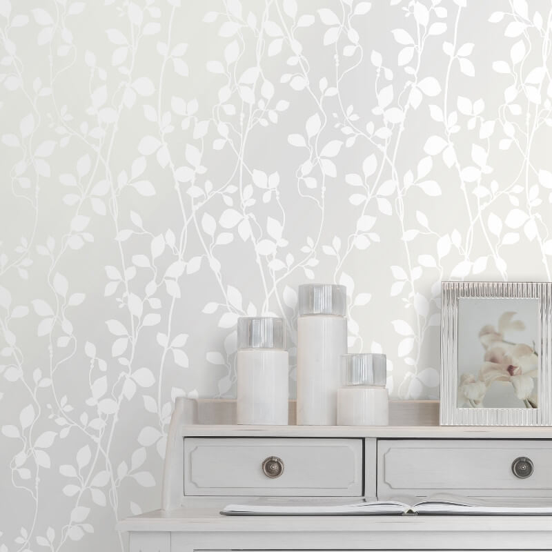 SK Filson Leaf Trail White Wallpaper - DE41856