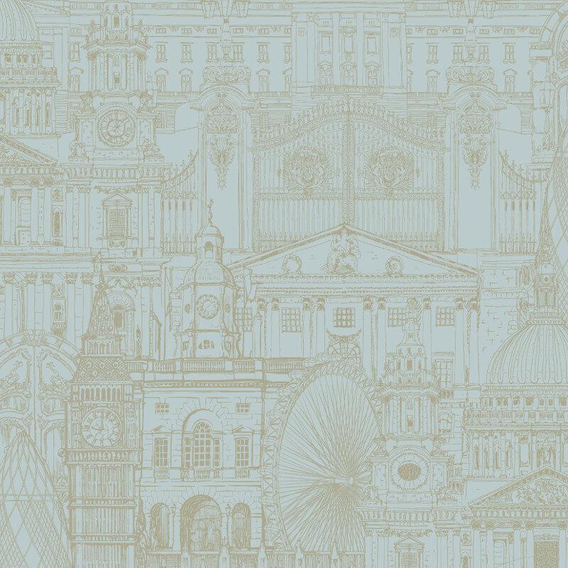 SK Filson London City Teal Wallpaper - FI2303