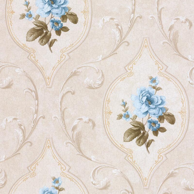 SK Filson Madelyn Floral Cameo Blue/Stone Wallpaper - DE41445