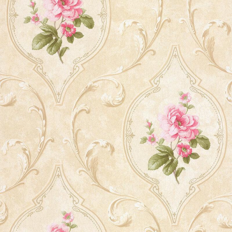 SK Filson Madelyn Floral Cameo Pink/Stone Wallpaper - DE41444