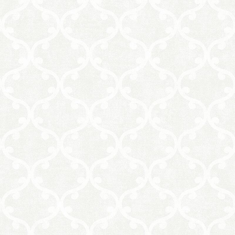 SK Filson Scroll Geometric White Wallpaper - DE41821