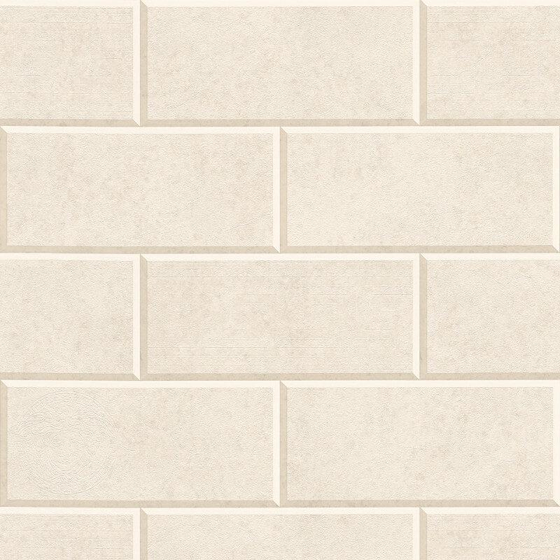 Versace Via Gesu 3D Tiles Beige Cream Wallpaper