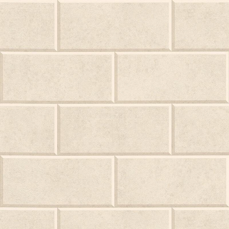 Versace Via Gesu 3D Tiles Cream/Beige Wallpaper - 34322-1