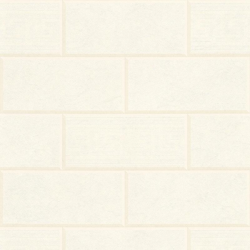 Versace Via Gesu 3D Tiles White/Cream Wallpaper - 34322-2