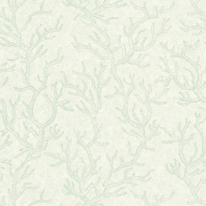 Versace Coral Green White Metallic Wallpaper