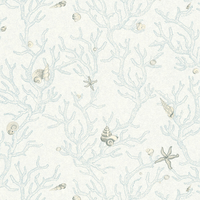 Versace Coral Shells Blue/White Wallpaper - 34496-3