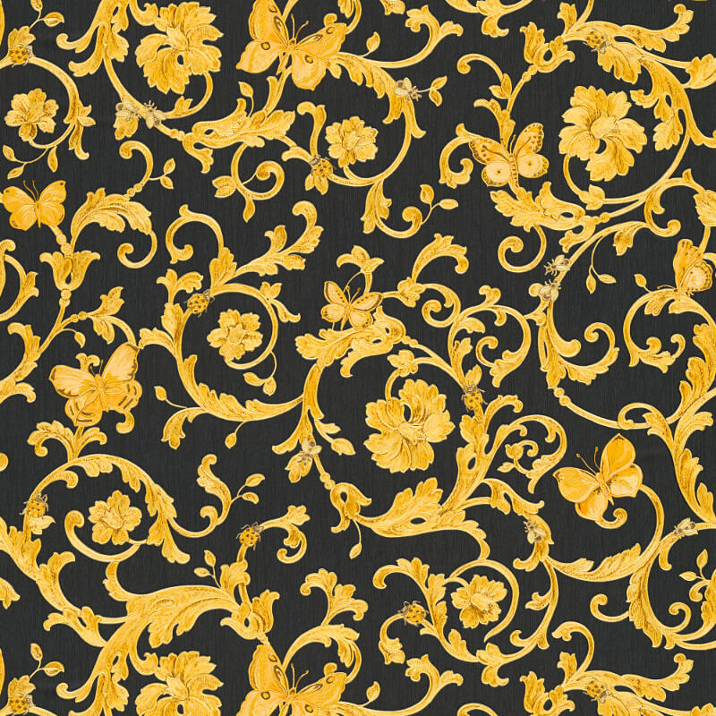 Versace Butterfly Barocco Black Gold Glitter Wallpaper