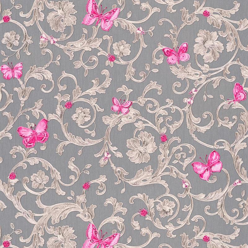 Versace Butterfly Barocco Grey Pink Glitter Wallpaper