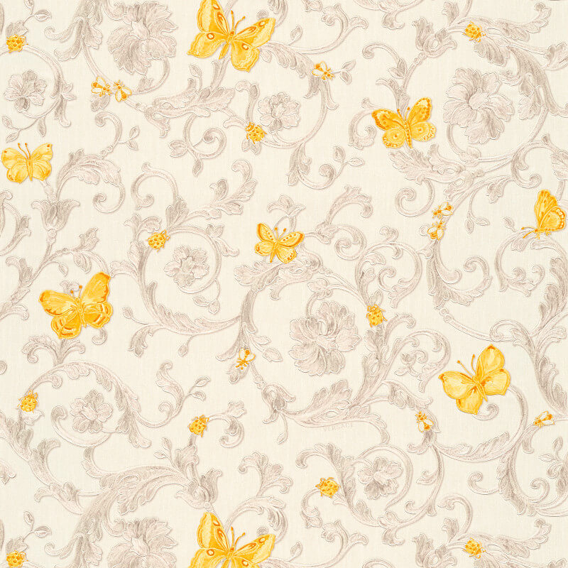 Versace Butterfly Barocco White/Orange Glitter Wallpaper - 34325-3