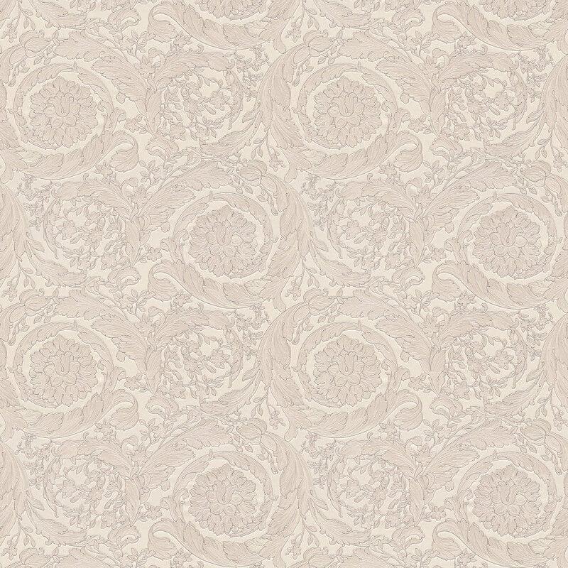 Versace Barocco Flower Silver Metallic Wallpaper - 93583-5