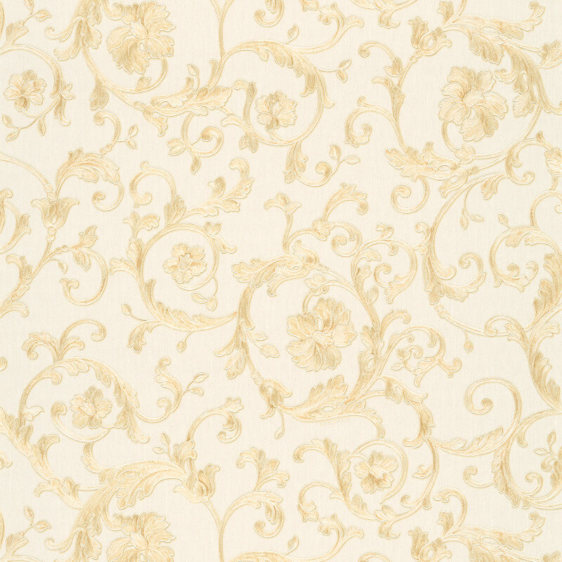 Versace Butterfly Barocco White/Gold Glitter Wallpaper - 34325-1