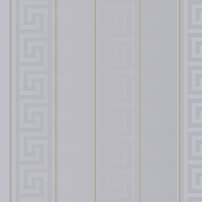 Versace Greek Key Stripe Grey Metallic Wallpaper - 93524-5