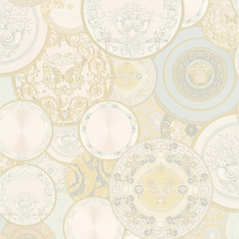 Versace Les Etoiles Dish Cream/Silver Metallic Wallpaper - 34901-2