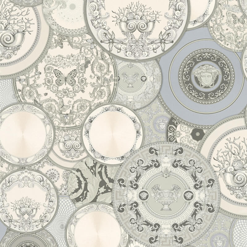 Versace Les Etoiles Dish Silver/Grey Metallic Wallpaper - 34901-3