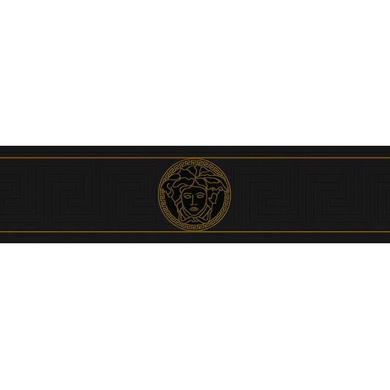 Versace Medusa Greek Black Metallic Wallpaper Border - 93522-4