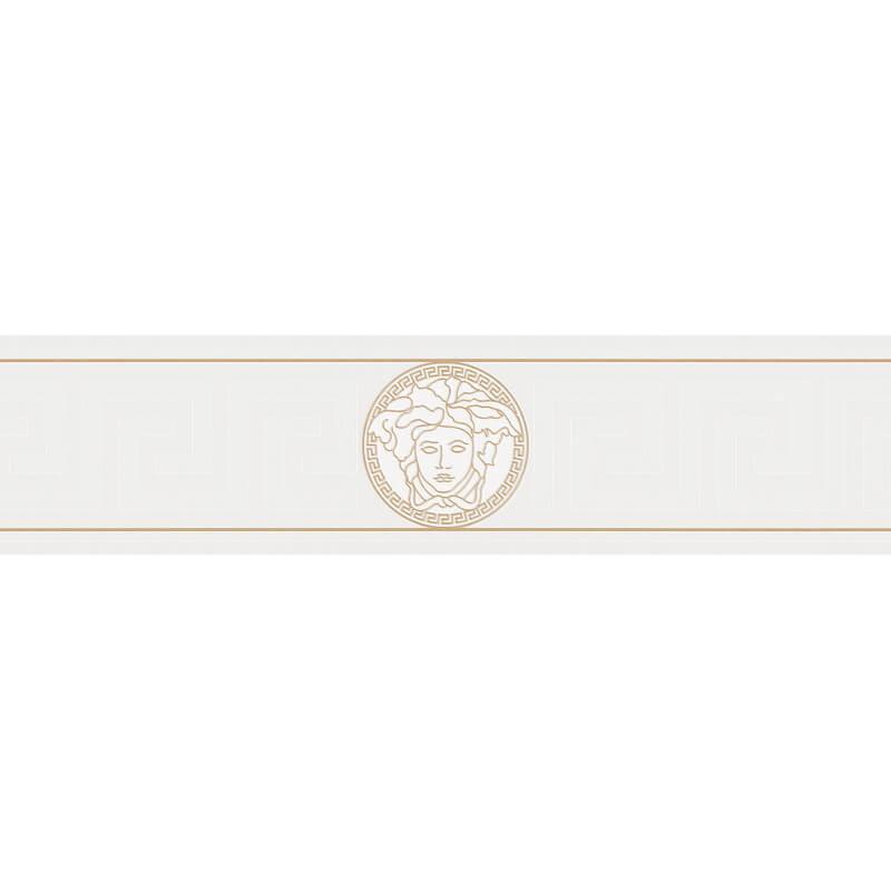 Versace Medusa Greek White Metallic Wallpaper Border - 93522-3