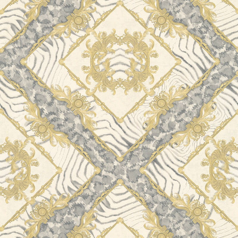 Versace Zebra Ornament Grey Metallic Wallpaper - 34904-2