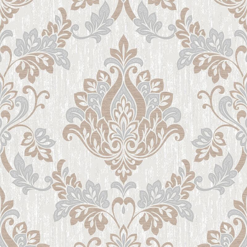 Vymura Senator Damask Glitter Wallpaper in Taupe and Silver - M1031