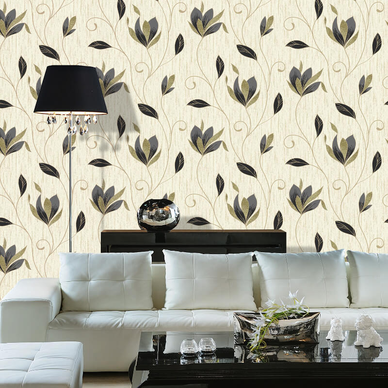 Vymura Synergy Glitter Floral Wallpaper in Black and Gold - M0908