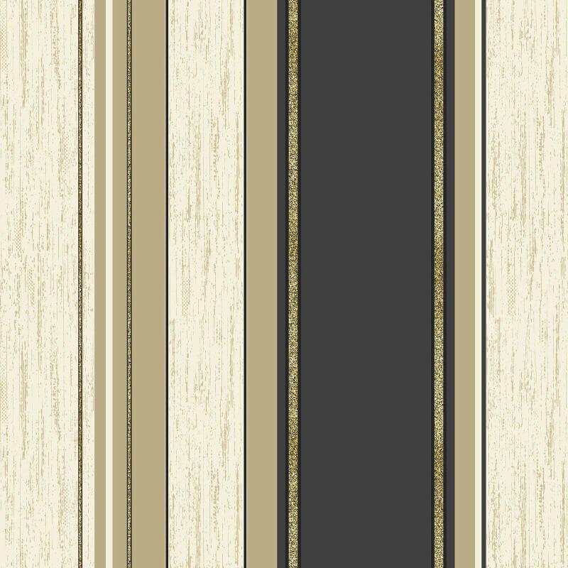 Vymura Synergy Glitter Stripe Wallpaper in Black and Gold - M0909