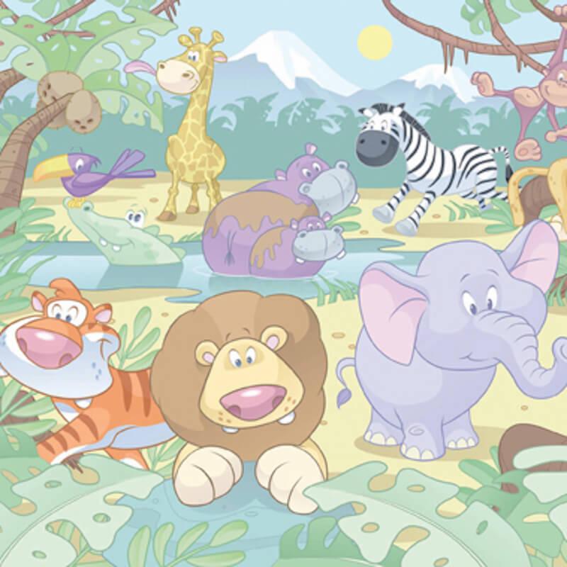 Walltastic Baby Jungle Wallpaper Mural - 40595