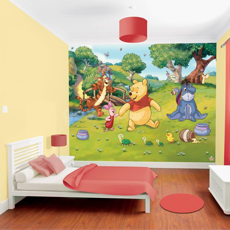 Walltastic disney winnie the pooh wallpaper mural 42100 for Classic winnie the pooh wall mural