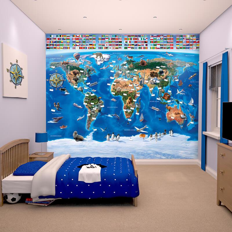 Walltastic Map of the World Wallpaper Mural - 41851