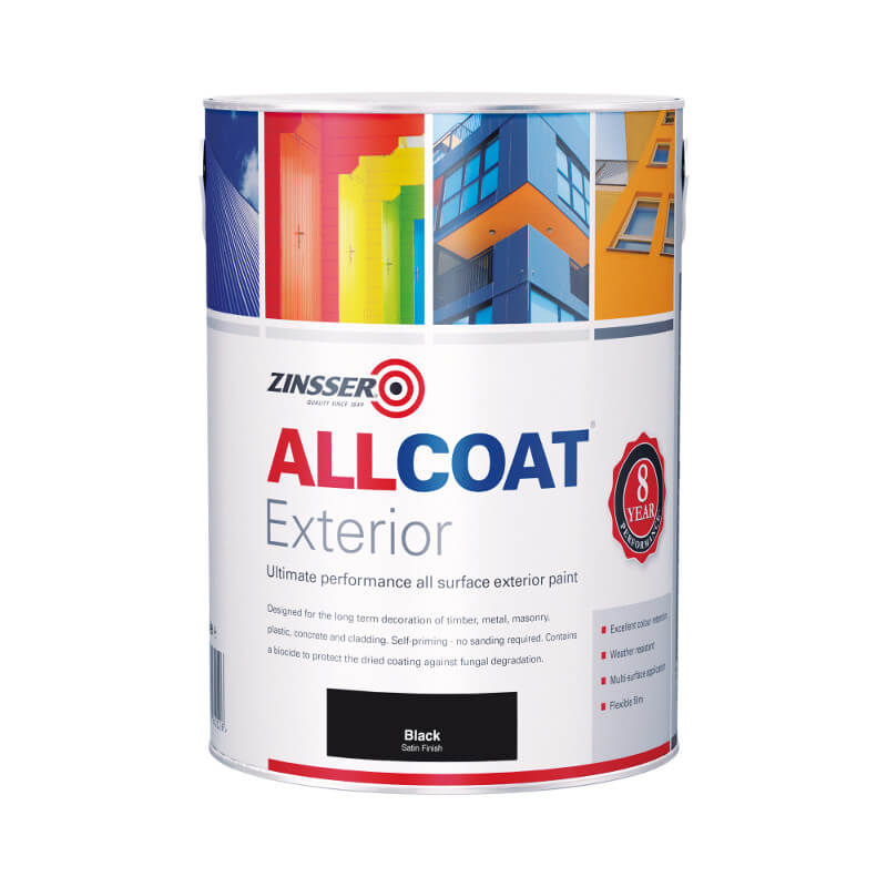 Zinsser allcoat exterior satin black water based for Exterior water based paint